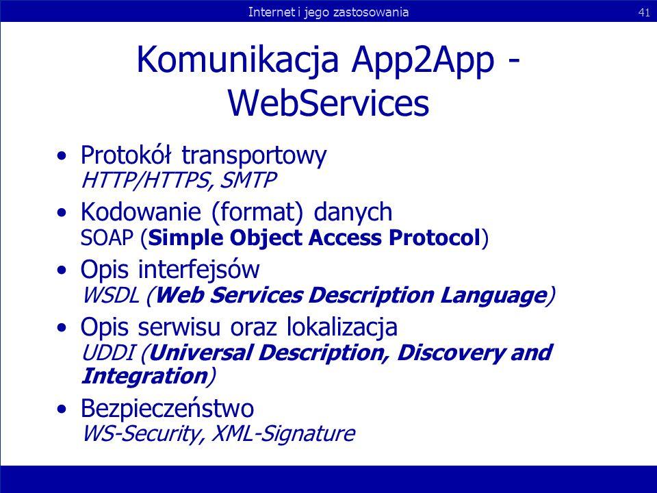 Internet i jego zastosowania 41 Komunikacja App2App - WebServices Protokół transportowy HTTP/HTTPS, SMTP Kodowanie (format) danych SOAP (Simple Object