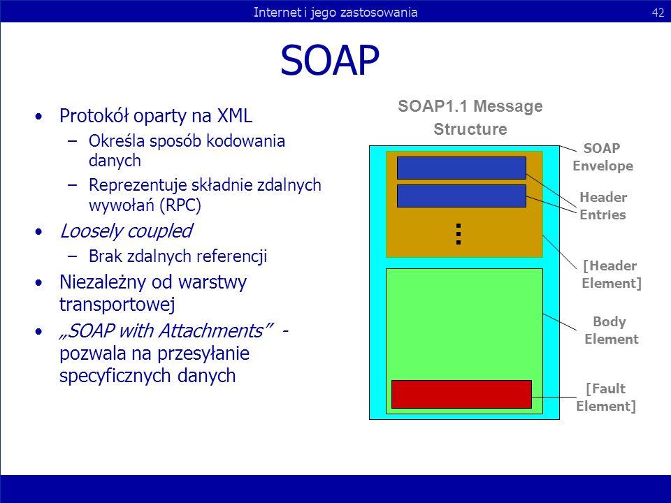Internet i jego zastosowania 42 SOAP Protokół oparty na XML –Określa sposób kodowania danych –Reprezentuje składnie zdalnych wywołań (RPC) Loosely cou