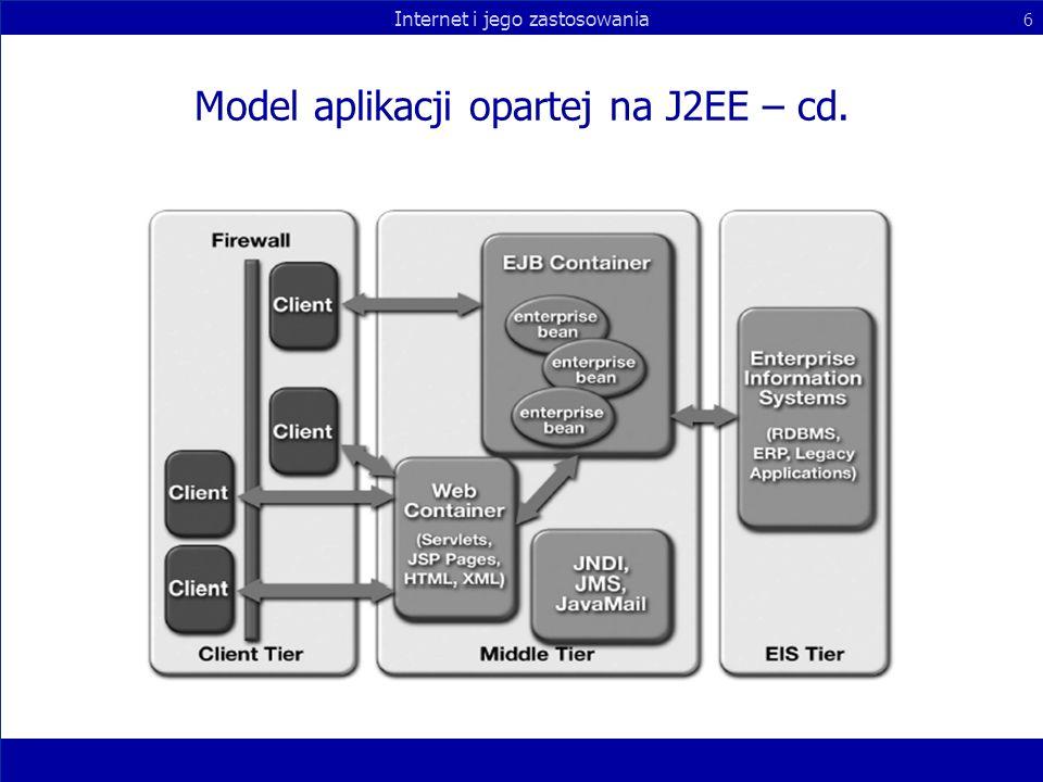 Internet i jego zastosowania 6 Model aplikacji opartej na J2EE – cd.
