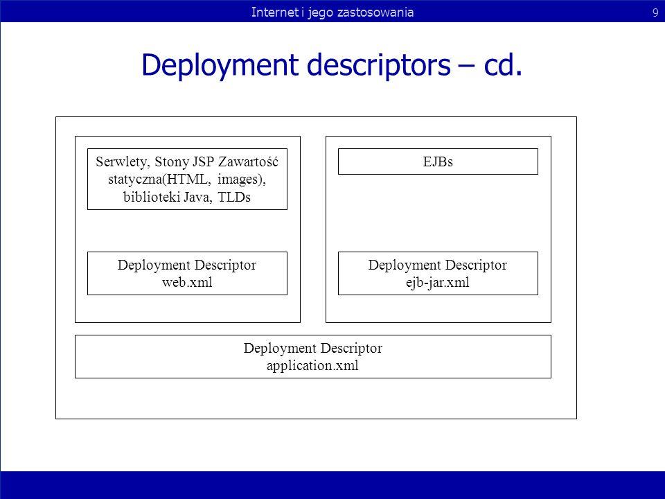 Internet i jego zastosowania 9 Deployment descriptors – cd. Serwlety, Stony JSP Zawartość statyczna(HTML, images), biblioteki Java, TLDs Deployment De