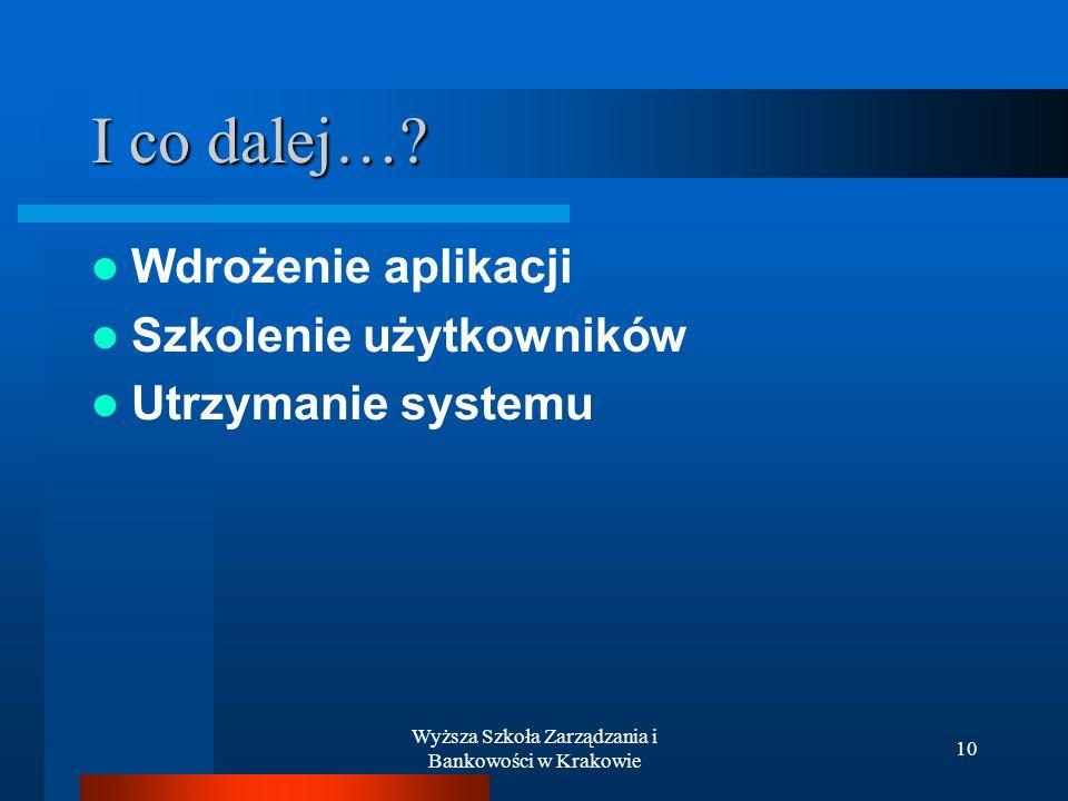 Wyższa Szkoła Zarządzania i Bankowości w Krakowie 10 I co dalej…? Wdrożenie aplikacji Szkolenie użytkowników Utrzymanie systemu