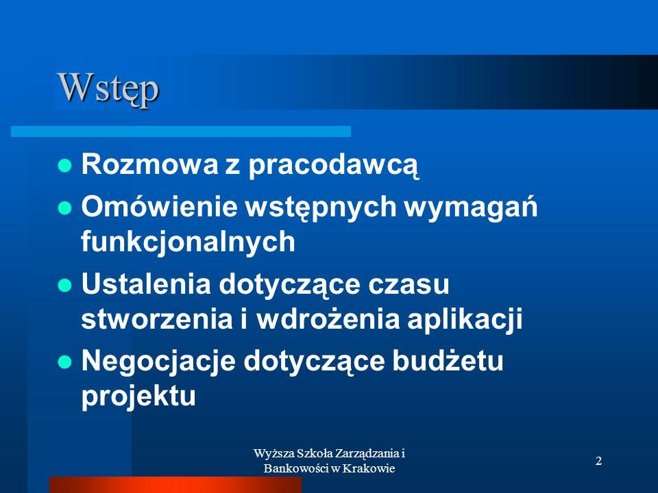 Wyższa Szkoła Zarządzania i Bankowości w Krakowie 2 Wstęp Rozmowa z pracodawcą Omówienie wstępnych wymagań funkcjonalnych Ustalenia dotyczące czasu stworzenia i wdrożenia aplikacji Negocjacje dotyczące budżetu projektu