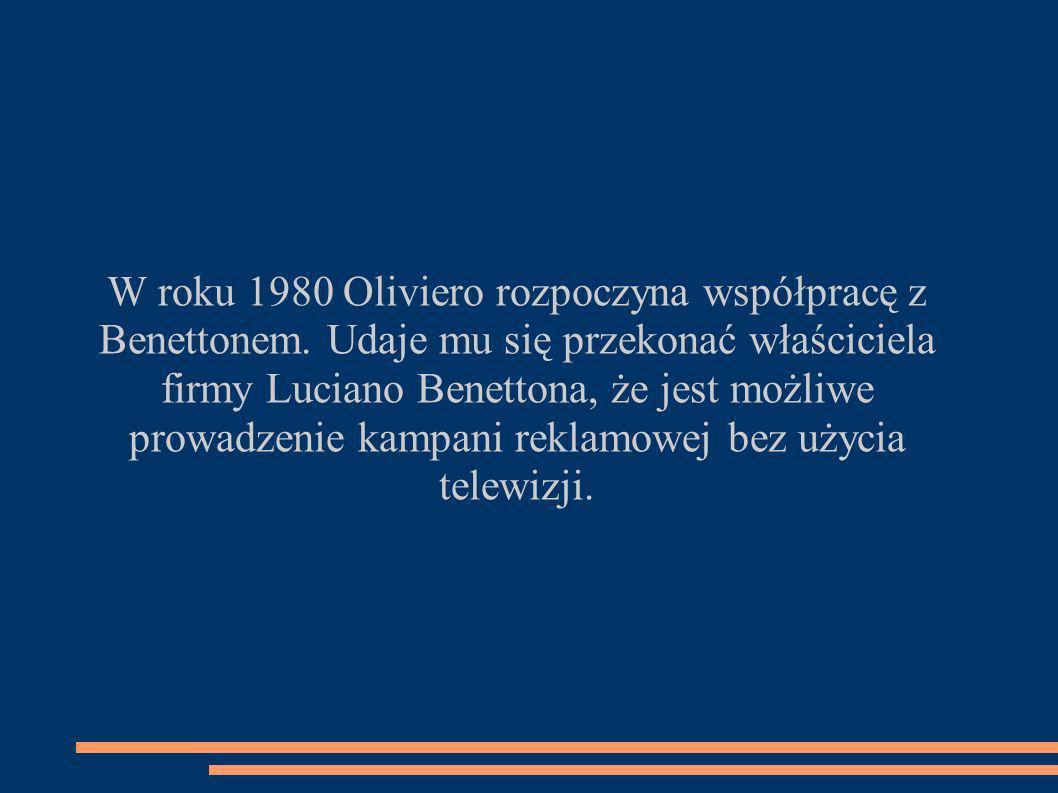 W roku 1980 Oliviero rozpoczyna współpracę z Benettonem.