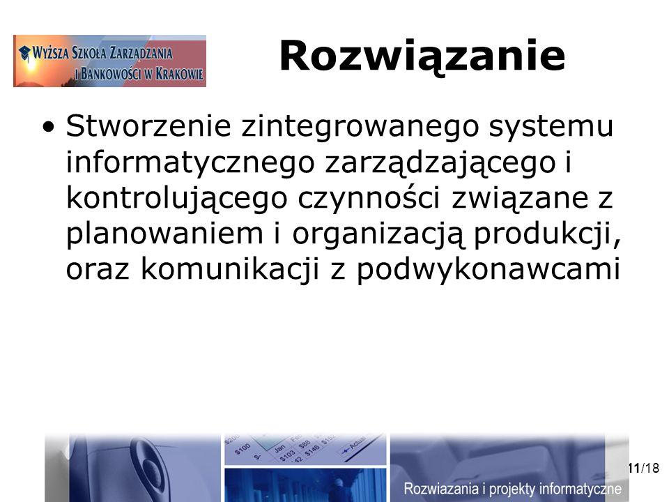 11/18 Rozwiązanie Stworzenie zintegrowanego systemu informatycznego zarządzającego i kontrolującego czynności związane z planowaniem i organizacją produkcji, oraz komunikacji z podwykonawcami