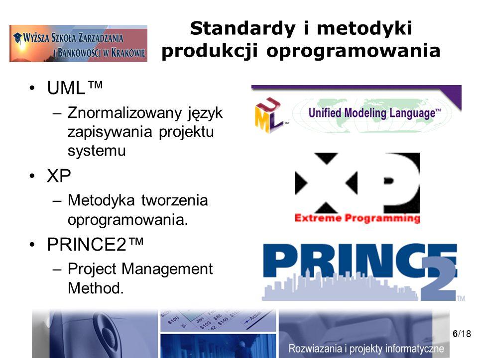 6/18 Standardy i metodyki produkcji oprogramowania UML –Znormalizowany język zapisywania projektu systemu XP –Metodyka tworzenia oprogramowania.
