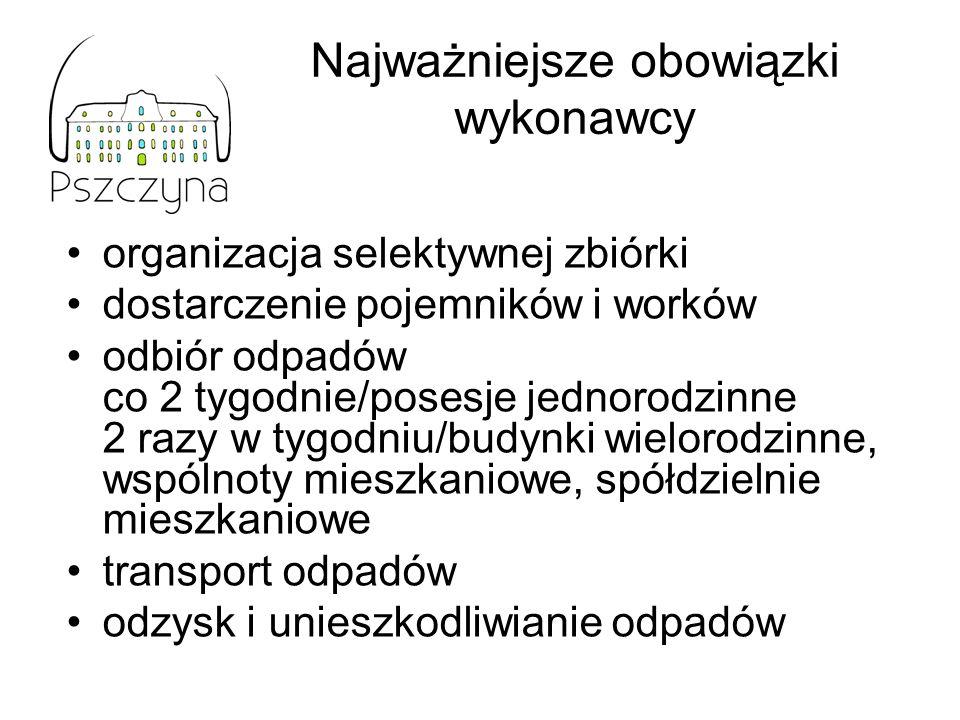Najważniejsze obowiązki wykonawcy organizacja selektywnej zbiórki dostarczenie pojemników i worków odbiór odpadów co 2 tygodnie/posesje jednorodzinne