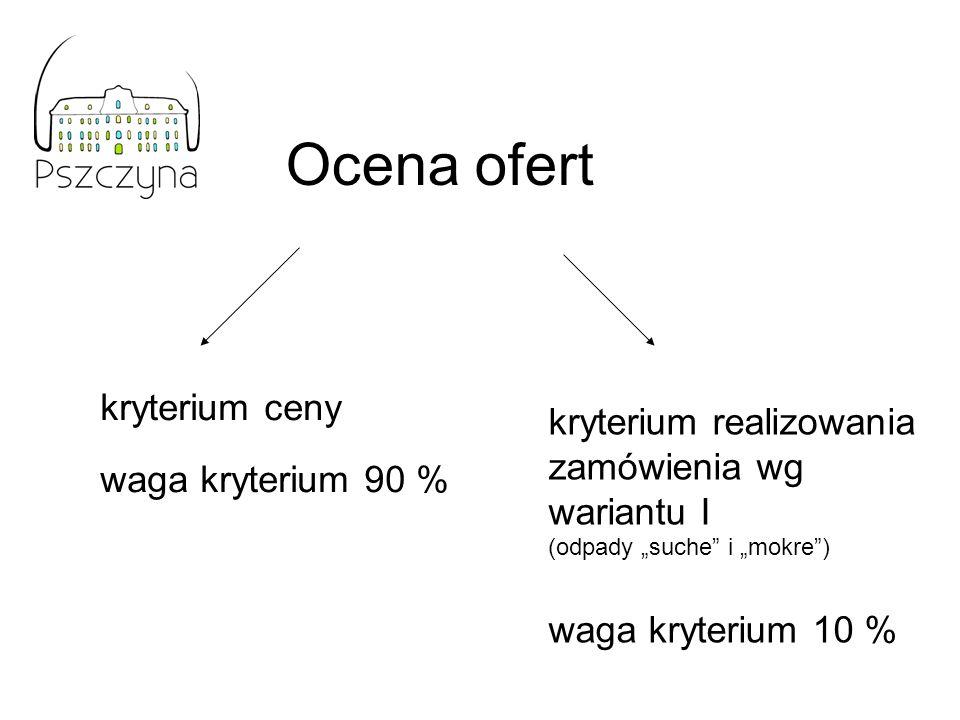 Ocena ofert Obliczenie punktów dla kryterium ceny: najniższa cena oferowana z ofert ważnych Ilość pkt = ----------------------------------------------- * 100 * 0,9 (waga kryterium) cena danej oferty Obliczenie punktów dla kryterium realizacji zamówienia wg wariantu I: wariant I – 10 pkt (podział na odpady suche i mokre) wariantu II – 0 pkt (pełna segregacja)