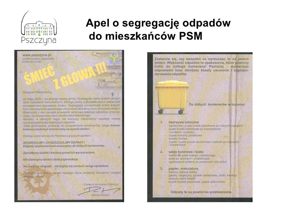 Apel o segregację odpadów do mieszkańców PSM