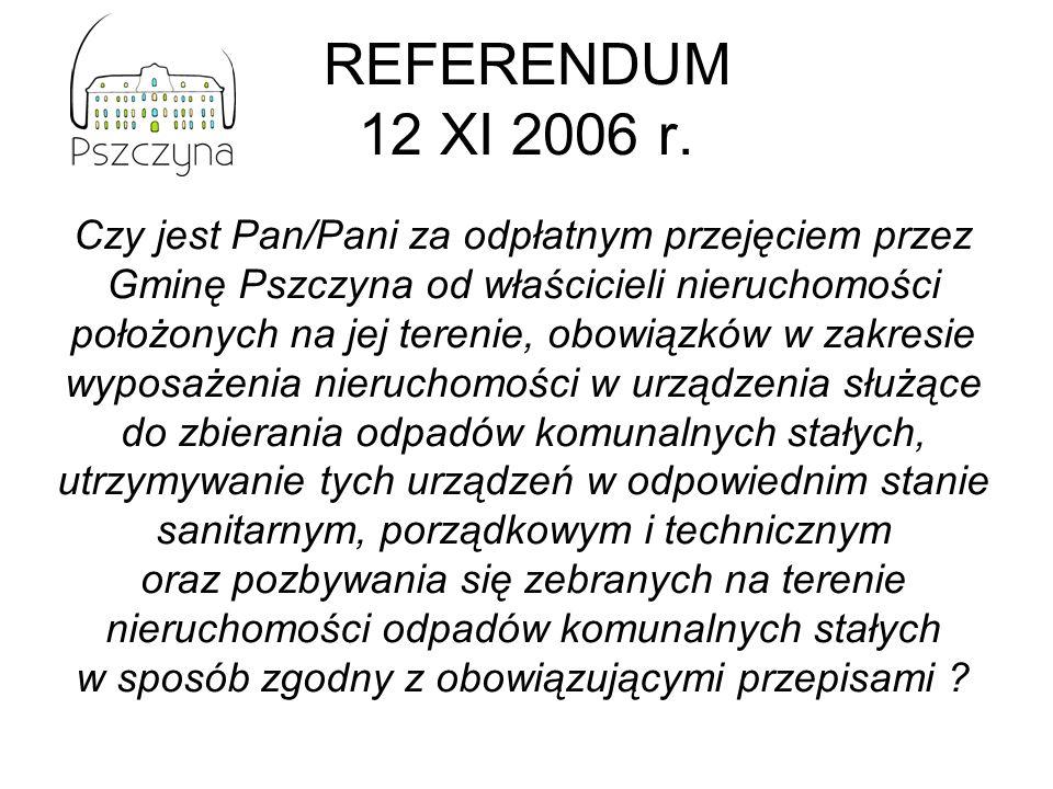 REFERENDUM 12 XI 2006 r. Czy jest Pan/Pani za odpłatnym przejęciem przez Gminę Pszczyna od właścicieli nieruchomości położonych na jej terenie, obowią