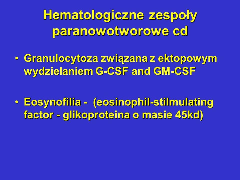Hematologiczne zespoły paranowotworowe cd KoagulopatieKoagulopatie Rozsiane wykrzepianie wewnątrznaczyniowe (Disseminated Intravascular Coagulation - DIC) jako efekt trombocytopenii, hipofibrynogenemii oraz aktywacji fibrynolizy; wymaga zarówno skutecznego leczenia przeciwnowotworowego jak i terapii objawowej ze względu na bezpośrednie zagrożenie życiaRozsiane wykrzepianie wewnątrznaczyniowe (Disseminated Intravascular Coagulation - DIC) jako efekt trombocytopenii, hipofibrynogenemii oraz aktywacji fibrynolizy; wymaga zarówno skutecznego leczenia przeciwnowotworowego jak i terapii objawowej ze względu na bezpośrednie zagrożenie życia