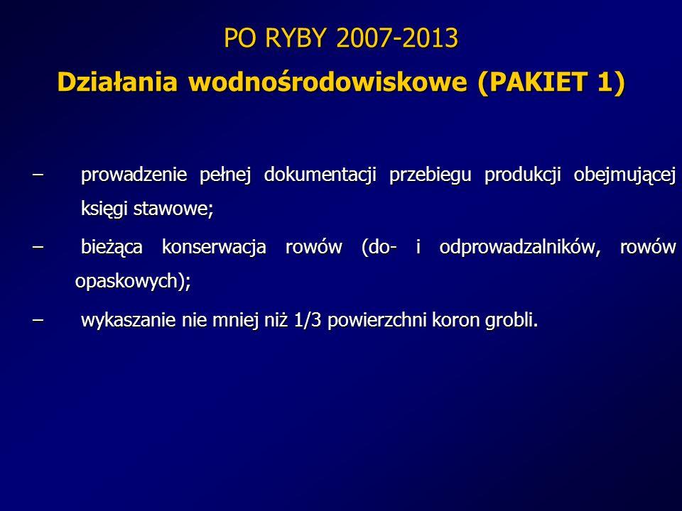 PO RYBY 2007-2013 Działania wodnośrodowiskowe (PAKIET 1) – prowadzenie pełnej dokumentacji przebiegu produkcji obejmującej księgi stawowe; – bieżąca k