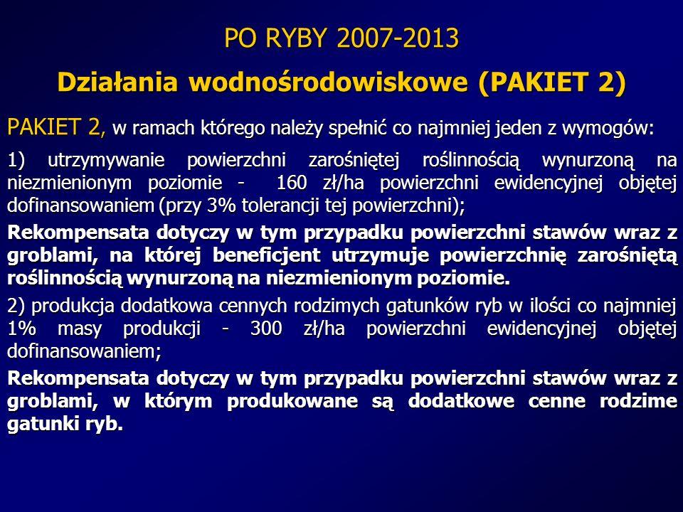 PO RYBY 2007-2013 Działania wodnośrodowiskowe (PAKIET 2) PAKIET 2, w ramach którego należy spełnić co najmniej jeden z wymogów: 1) utrzymywanie powier
