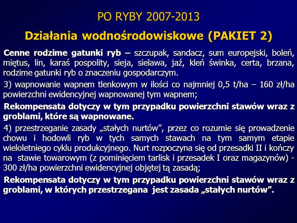 PO RYBY 2007-2013 Działania wodnośrodowiskowe (PAKIET 2) Cenne rodzime gatunki ryb – szczupak, sandacz, sum europejski, boleń, miętus, lin, karaś posp