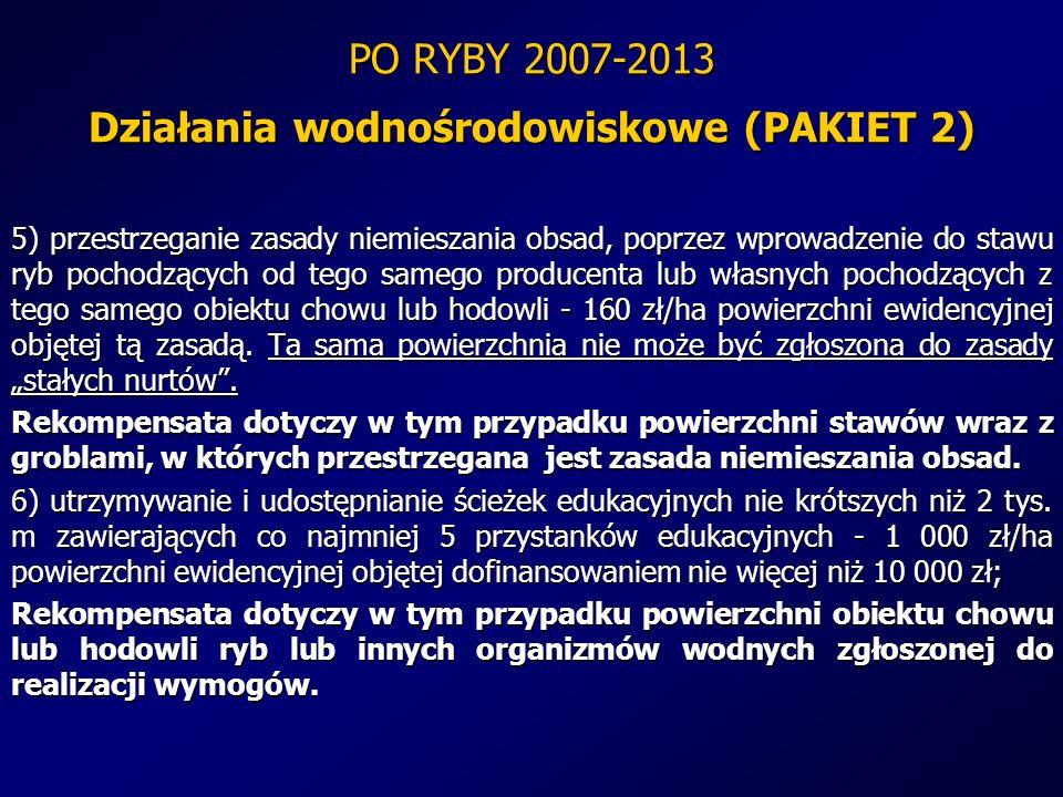 PO RYBY 2007-2013 Działania wodnośrodowiskowe (PAKIET 2) 5) przestrzeganie zasady niemieszania obsad, poprzez wprowadzenie do stawu ryb pochodzących o
