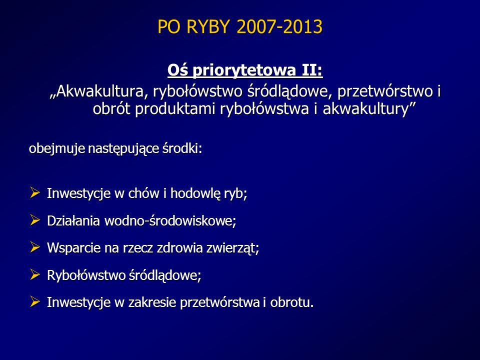 PO RYBY 2007-2013 Oś priorytetowa II: Akwakultura, rybołówstwo śródlądowe, przetwórstwo i obrót produktami rybołówstwa i akwakultury obejmuje następuj
