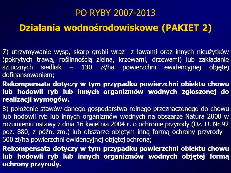 PO RYBY 2007-2013 Działania wodnośrodowiskowe (PAKIET 2) 7) utrzymywanie wysp, skarp grobli wraz z ławami oraz innych nieużytków (pokrytych trawą, roś