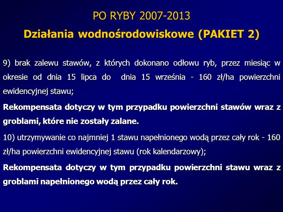 PO RYBY 2007-2013 Działania wodnośrodowiskowe (PAKIET 2) 9) brak zalewu stawów, z których dokonano odłowu ryb, przez miesiąc w okresie od dnia 15 lipc