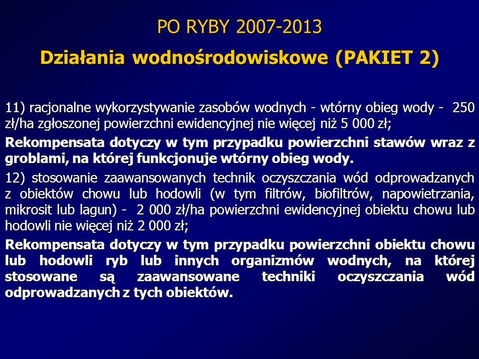 PO RYBY 2007-2013 Działania wodnośrodowiskowe (PAKIET 2) 11) racjonalne wykorzystywanie zasobów wodnych - wtórny obieg wody - 250 zł/ha zgłoszonej pow