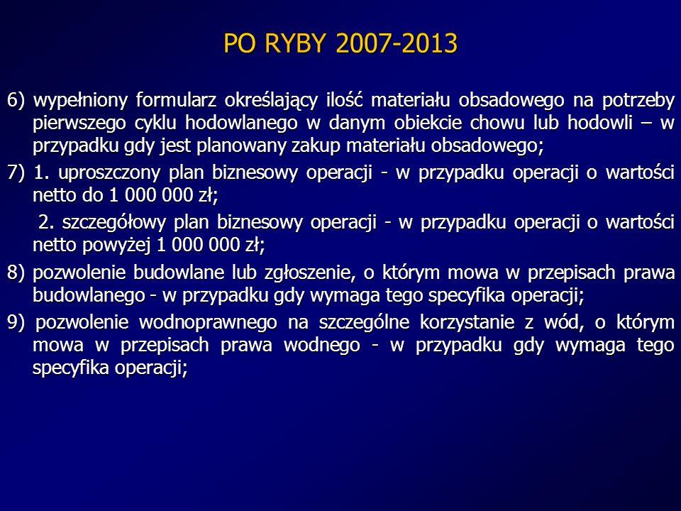 PO RYBY 2007-2013 6) wypełniony formularz określający ilość materiału obsadowego na potrzeby pierwszego cyklu hodowlanego w danym obiekcie chowu lub h