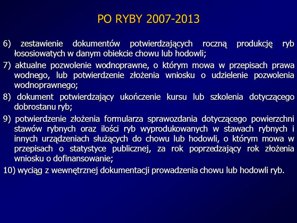 PO RYBY 2007-2013 6) zestawienie dokumentów potwierdzających roczną produkcję ryb łososiowatych w danym obiekcie chowu lub hodowli; 7) aktualne pozwol