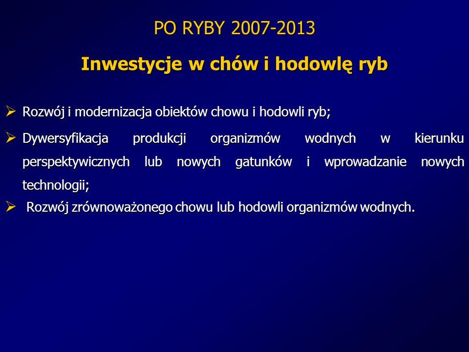 PO RYBY 2007-2013 Inwestycje w chów i hodowlę ryb Rozwój i modernizacja obiektów chowu i hodowli ryb; Rozwój i modernizacja obiektów chowu i hodowli r