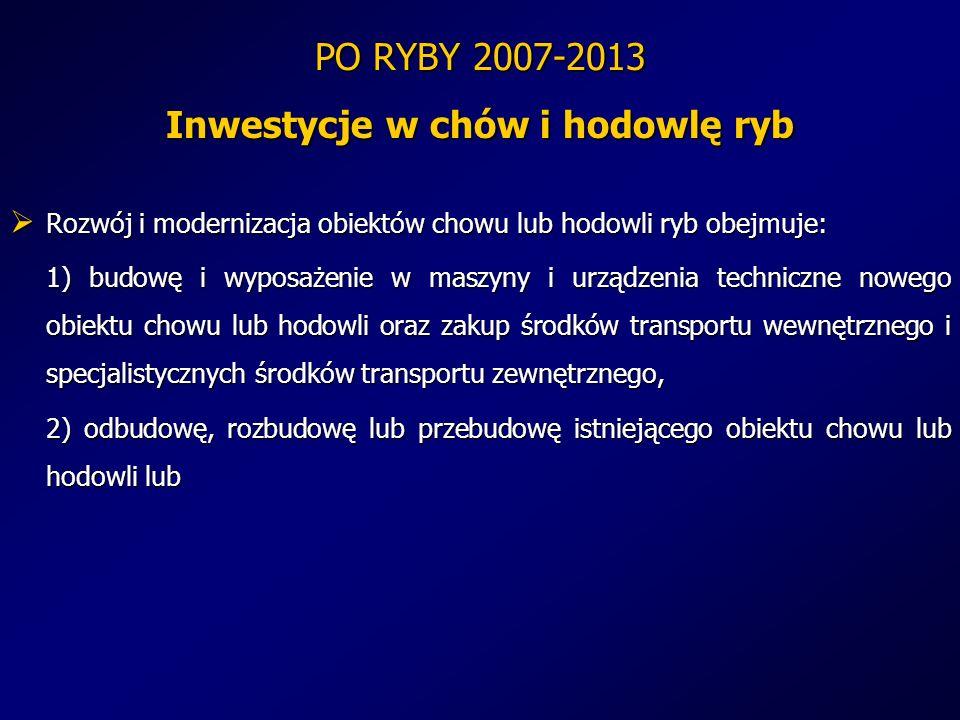 PO RYBY 2007-2013 Inwestycje w chów i hodowlę ryb Rozwój i modernizacja obiektów chowu lub hodowli ryb obejmuje: Rozwój i modernizacja obiektów chowu