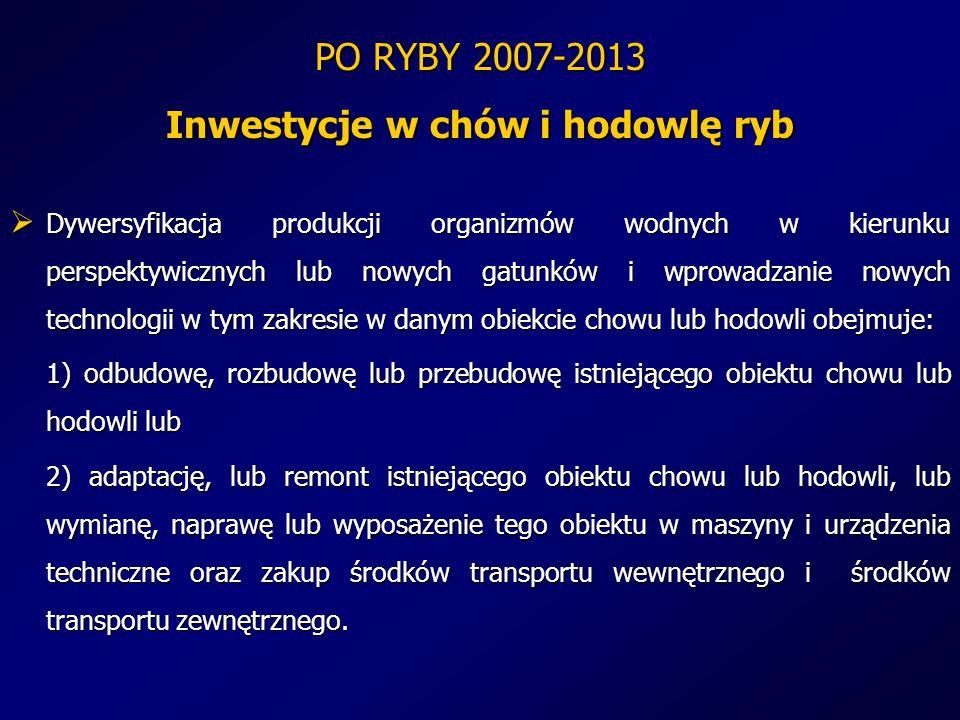 PO RYBY 2007-2013 Inwestycje w chów i hodowlę ryb Dywersyfikacja produkcji organizmów wodnych w kierunku perspektywicznych lub nowych gatunków i wprow
