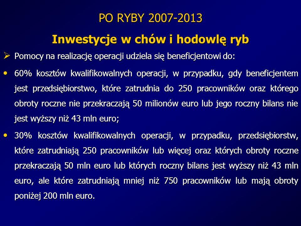 PO RYBY 2007-2013 Inwestycje w chów i hodowlę ryb Pomocy na realizację operacji udziela się beneficjentowi do: Pomocy na realizację operacji udziela s