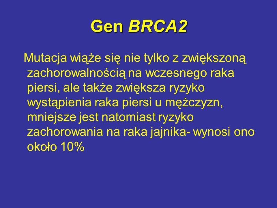 Gen BRCA2 Mutacja wiąże się nie tylko z zwiększoną zachorowalnością na wczesnego raka piersi, ale także zwiększa ryzyko wystąpienia raka piersi u mężc