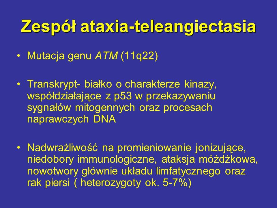Zespół ataxia-teleangiectasia Mutacja genu ATM (11q22) Transkrypt- białko o charakterze kinazy, współdziałające z p53 w przekazywaniu sygnałów mitogen
