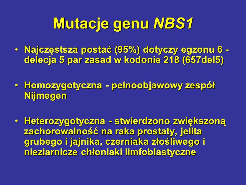 Mutacje genu NBS1 Najczęstsza postać (95%) dotyczy egzonu 6 - delecja 5 par zasad w kodonie 218 (657del5)Najczęstsza postać (95%) dotyczy egzonu 6 - d
