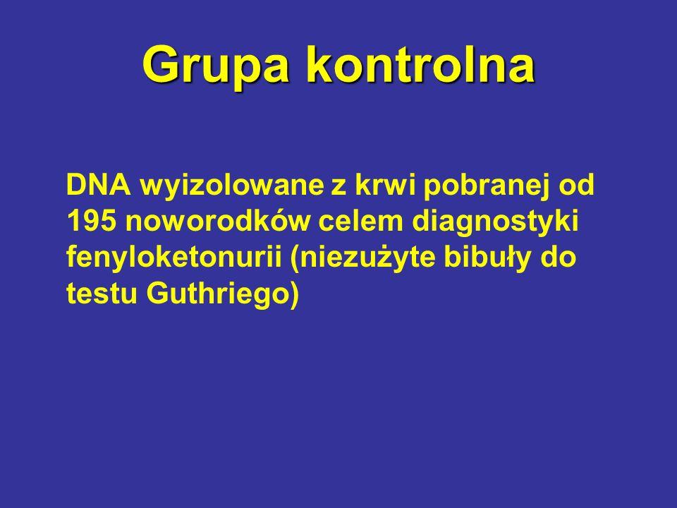 Grupa kontrolna DNA wyizolowane z krwi pobranej od 195 noworodków celem diagnostyki fenyloketonurii (niezużyte bibuły do testu Guthriego)