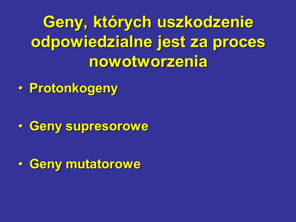 Geny, których uszkodzenie odpowiedzialne jest za proces nowotworzenia ProtonkogenyProtonkogeny Geny supresoroweGeny supresorowe Geny mutatoroweGeny mu