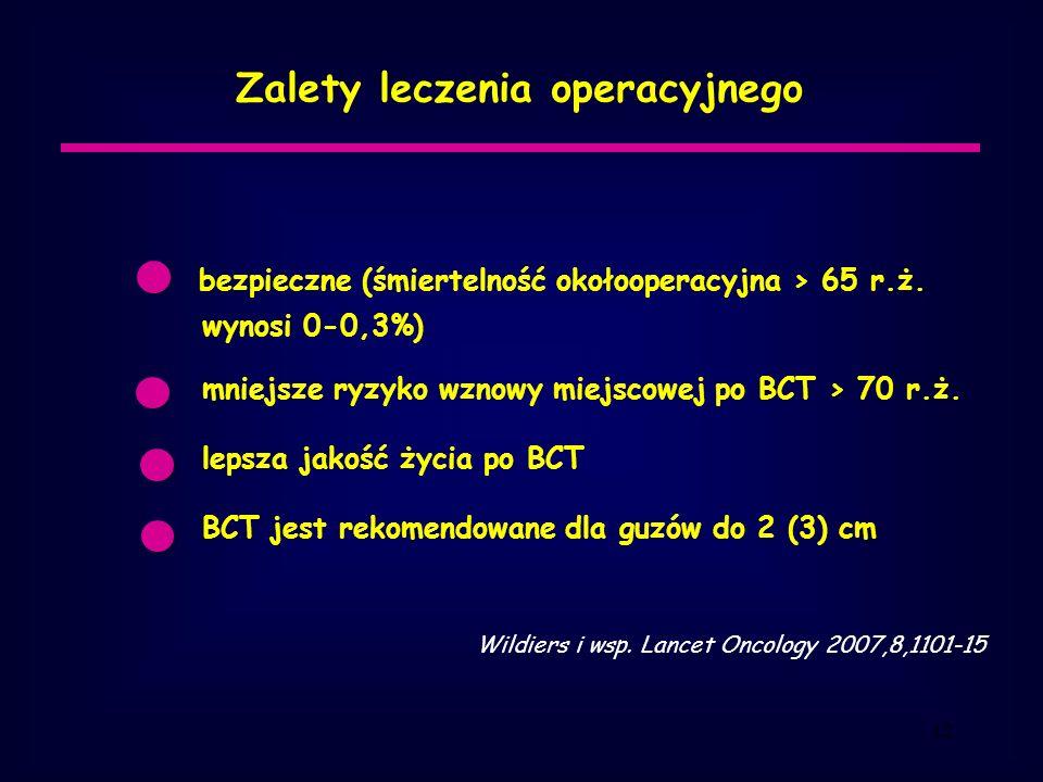 12 Zalety leczenia operacyjnego bezpieczne (śmiertelność okołooperacyjna > 65 r.ż.
