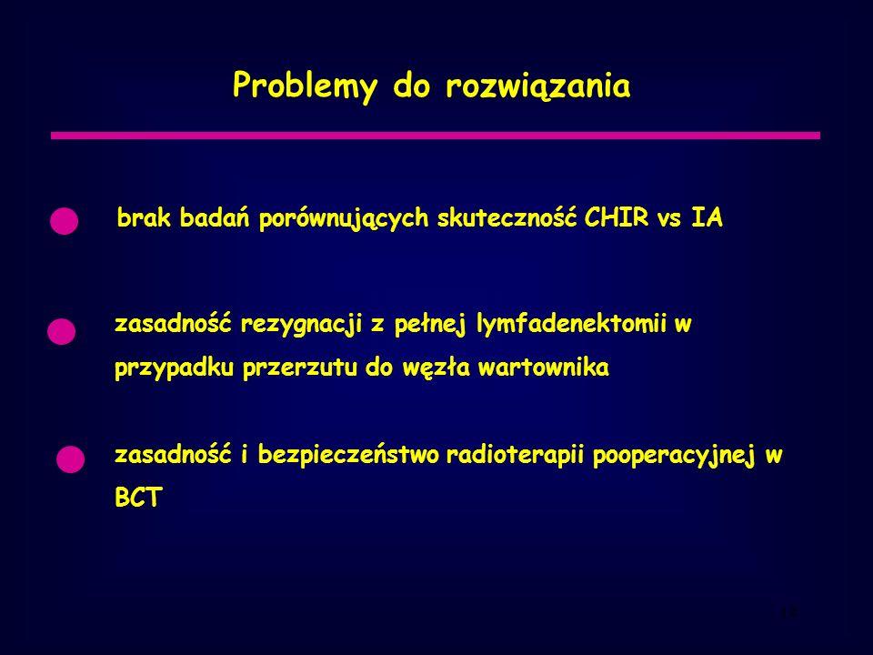 14 Problemy do rozwiązania brak badań porównujących skuteczność CHIR vs IA zasadność rezygnacji z pełnej lymfadenektomii w przypadku przerzutu do węzła wartownika zasadność i bezpieczeństwo radioterapii pooperacyjnej w BCT