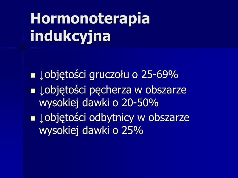 Hormonoterapia indukcyjna objętości gruczołu o 25-69% objętości gruczołu o 25-69% objętości pęcherza w obszarze wysokiej dawki o 20-50% objętości pęch