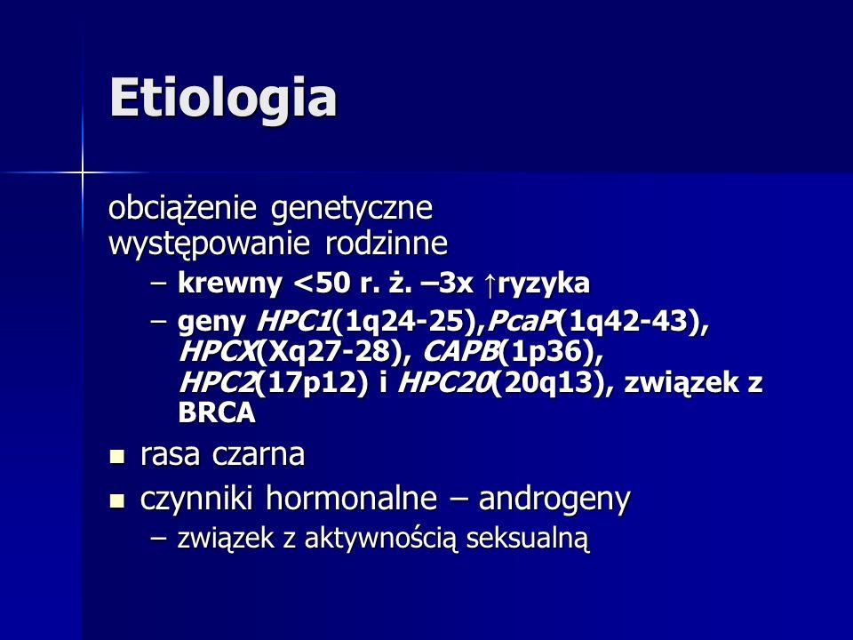 Etiologia obciążenie genetyczne występowanie rodzinne –krewny <50 r. ż. –3x ryzyka –geny HPC1(1q24-25),PcaP(1q42-43), HPCX(Xq27-28), CAPB(1p36), HPC2(