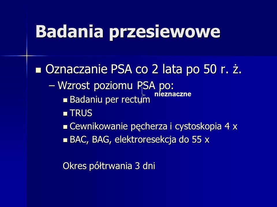 Badania przesiewowe Oznaczanie PSA co 2 lata po 50 r. ż. Oznaczanie PSA co 2 lata po 50 r. ż. –Wzrost poziomu PSA po: Badaniu per rectum Badaniu per r