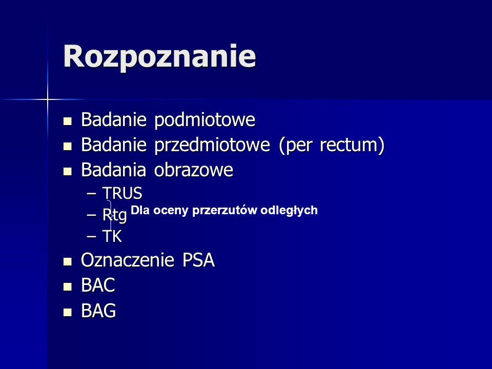 Rozpoznanie Badanie podmiotowe Badanie podmiotowe Badanie przedmiotowe (per rectum) Badanie przedmiotowe (per rectum) Badania obrazowe Badania obrazow