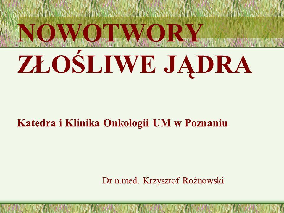 NOWOTWORY ZŁOŚLIWE JĄDRA Katedra i Klinika Onkologii UM w Poznaniu Dr n.med. Krzysztof Rożnowski