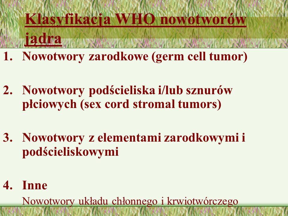 Klasyfikacja WHO nowotworów jądra 1.Nowotwory zarodkowe (germ cell tumor) 2.Nowotwory podścieliska i/lub sznurów płciowych (sex cord stromal tumors) 3.Nowotwory z elementami zarodkowymi i podścieliskowymi 4.Inne Nowotwory układu chłonnego i krwiotwórczego