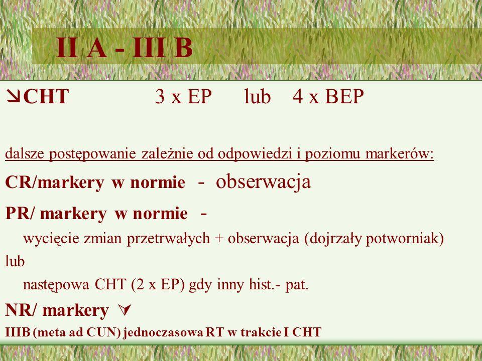 II A - III B æCHT 3 x EP lub 4 x BEP dalsze postępowanie zależnie od odpowiedzi i poziomu markerów: CR/markery w normie - obserwacja PR/ markery w normie - wycięcie zmian przetrwałych + obserwacja (dojrzały potworniak) lub następowa CHT (2 x EP) gdy inny hist.- pat.