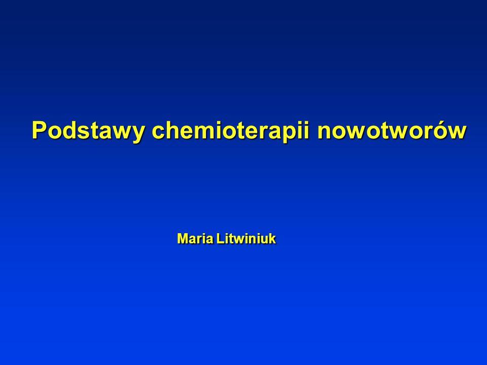 Wskazania do stosowania cytostatyków Chemioterapia jako radykalne leczenie wyłączne Chemioterapia jako leczenie uzupełniające inne metody leczenia onkologicznego (chemioterapia uzupełniająca, chemioterapia adjuwantowa) Chemioterapia poprzedzająca inne formy leczenia onkologicznego (chemioterapia indukcyjna, wstępna, neoadjuwantowa) Chemioterapia stosowana jednoczasowo z innymi formami leczenia Chemioterapia paliatywna