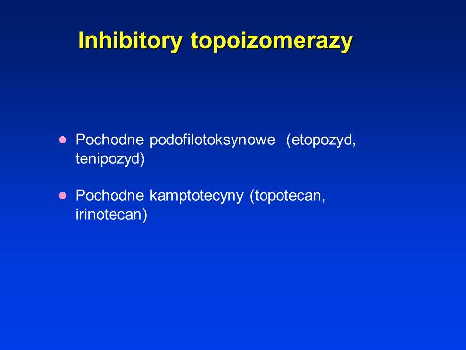 Leki działające na wrzeciono mitotyczne Alkaloidy barwinka różowatego (winkrystyna, winblastyna, winorelbina) Taksoidy.