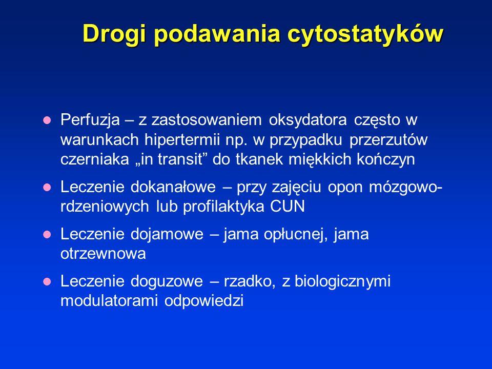 Drogi podawania cytostatyków Infuzje dożylne – podawanie cytostatyków do żył obwodowych bądź centralnych po założeniu cewników typu Port, większość le