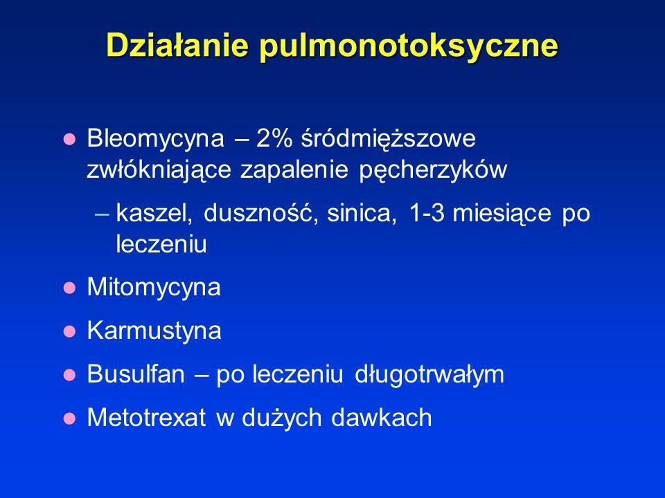 Działanie pulmonotoksyczne Bleomycyna – 2% śródmiąższowe zwłókniające zapalenie pęcherzyków –kaszel, duszność, sinica, 1-3 miesiące po leczeniu Mitomy