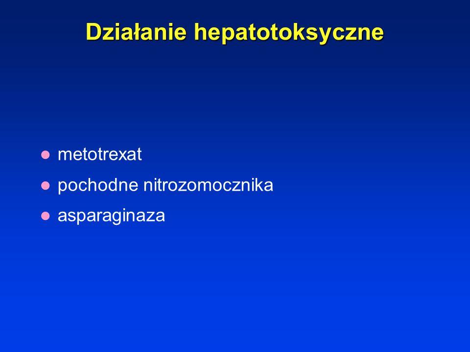Działanie pulmonotoksyczne Bleomycyna – 2% śródmięższowe zwłókniające zapalenie pęcherzyków –kaszel, duszność, sinica, 1-3 miesiące po leczeniu Mitomy
