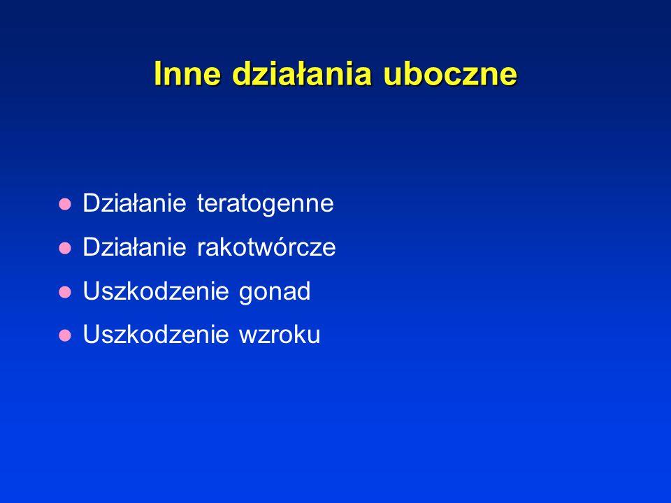 Działanie neurotoksyczne Alkaloidy barwinka – polineuropatia obwodowa Cisplatyna – neuropatia czuciowa, uszkodzenie słuchu Fluorouracyl – objawy móżdż