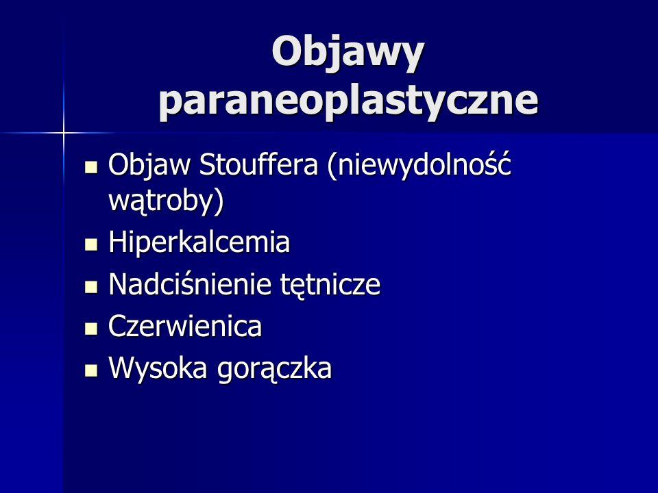 Objawy paraneoplastyczne Objaw Stouffera (niewydolność wątroby) Objaw Stouffera (niewydolność wątroby) Hiperkalcemia Hiperkalcemia Nadciśnienie tętnicze Nadciśnienie tętnicze Czerwienica Czerwienica Wysoka gorączka Wysoka gorączka