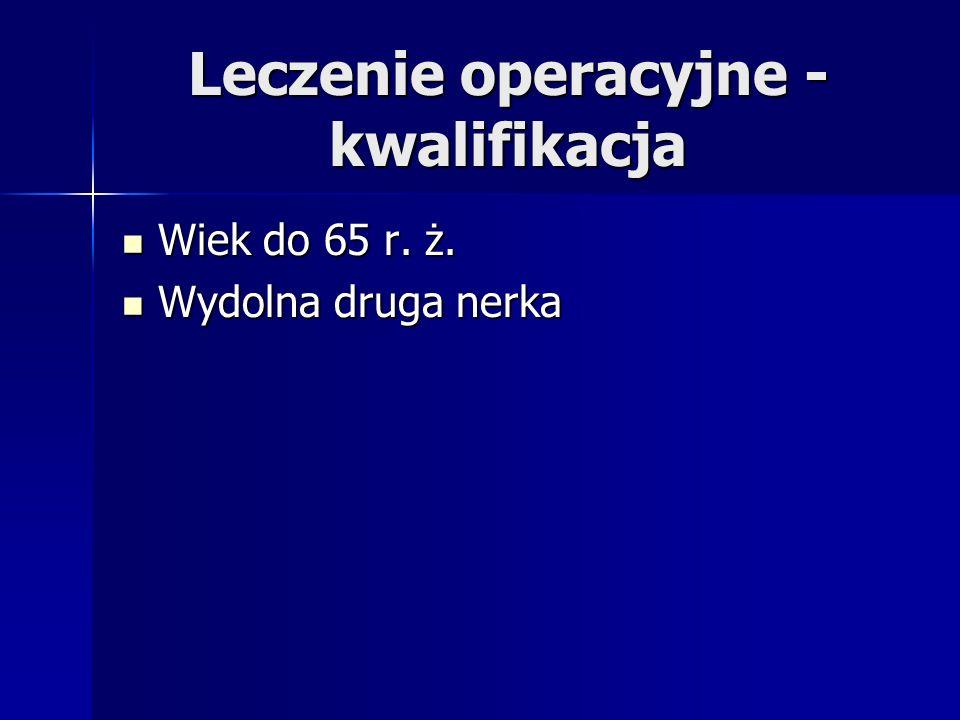 Leczenie operacyjne - kwalifikacja Wiek do 65 r.ż.